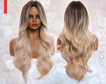 Face Balayage Brown to Blonde Long Synthetic Wig | Natural Looking Hair No Lace Front Long Wig | Water Wavy | Heat Resistant