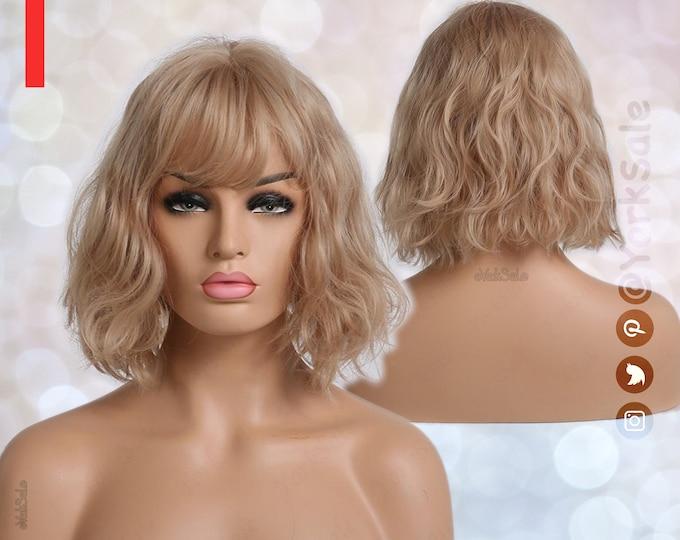 Allison   Golden Blonde Bob Cut Wavy Short Synthetic Wig