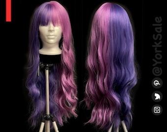 Long Wavy Half Dark Purple Half Light Purple Synthetic Wig with Bangs for Black & White Women | Natural Look Hair | Heat Resistant