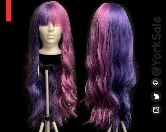 Alexa Long Wavy Half Dark Purple Half Light Purple Synthetic Wig with Bangs for Black & White Women | Natural Look Hair | Heat Resistant