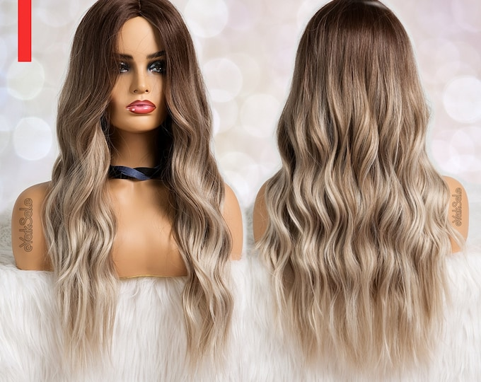 Lily | Dark Rooted Ash Blonde Ombre Water Wave Synthetic Wig