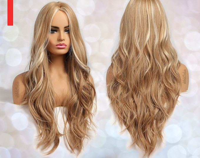 Stella | Long Wavy Blonde with Highlights Synthetic Wig