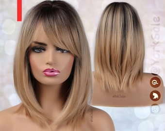 Dirty Blonde Dark Rooted Ombre Synthetic Wig with Bangs for Black & White Women, Medium Length Layered Natural Look Hair, Heat Resistant Wig