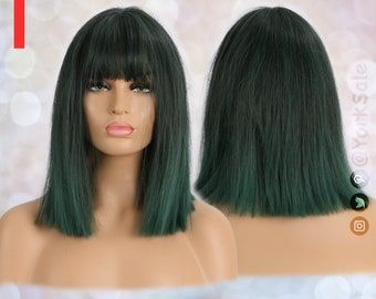 Black to Dark Green Short Synthetic Wig | Natural Looking Hair No Lace Front Short Wig | Water Wavy | Heat Resistant | Bob Cut with Bangs