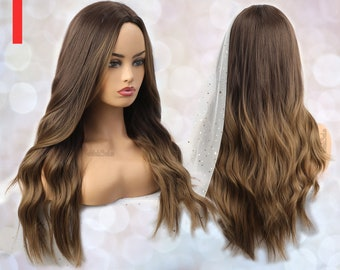 Long Brown Ombre Synthetic Wig for Black & White Women   Natural Look Hair Long Wig   Heat Resistant   Long Wavy   Layered   Dark Ombre