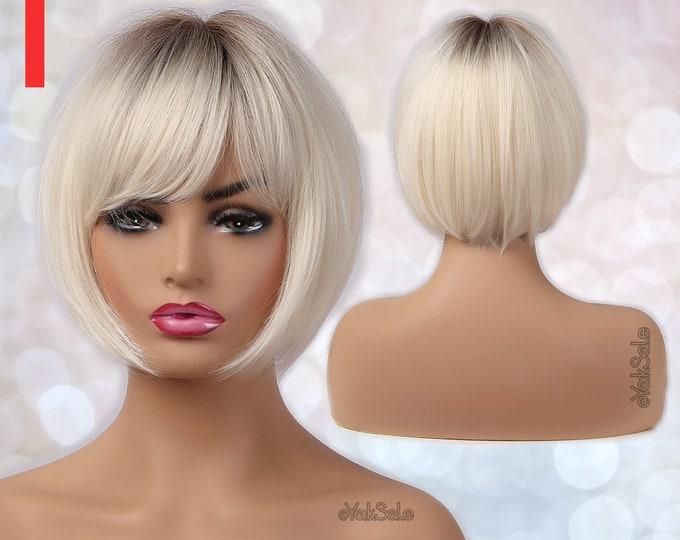 Flora   Short Bob Ash Platinum Blonde Synthetic Wig
