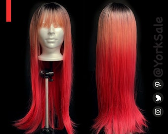 Straight Dark Root Long Reddish Pink Silky Synthetic Wig with Bangs for Black & White Women | Natural Look Hair | Heat Resistant