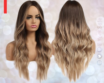 Long Balayage Dark Brown to Blonde Ombre Synthetic Wig | Natural Looking Hair No Lace Front Long Wig | Water Wavy | Heat Resistant