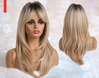 Dark Rooted Blonde Ombre Synthetic Wig with Bangs for Black & White Women, Natural Look Hair No Lace Front Long Length Wig, Heat Resistant