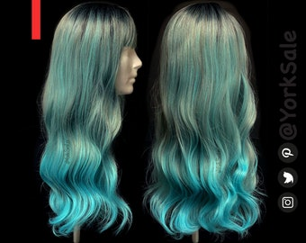 Long Wavy Blue Green Synthetic Wig with Dark Roots and Bangs for Black & White Women | Natural Look Hair | Heat Resistant
