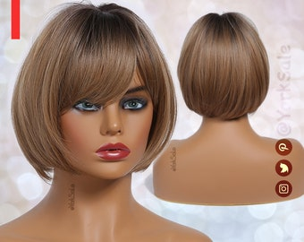 Short Bob Dark Root Brown Synthetic Wig with Bangs for Black & White Women | Dark Roots Natural Look Hair | Heat Resistant |  Short Wig