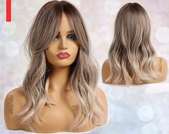 Platinum Ash Blonde Wavy Synthetic Wig for Black & White Women   Natural Look Hair   Heat Resistant   Medium Length   Layered   Dark Root