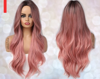 Dark Root Pink Ombre Synthetic Wig for Black & White Women, Natural Look Hair No Lace Front Long Wig Heat Resistant, Long Wavy Layered Ombre