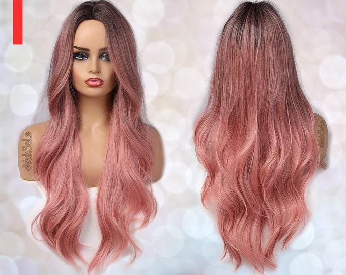 Sophia | Dark Root Pink Ombre Synthetic Wig \