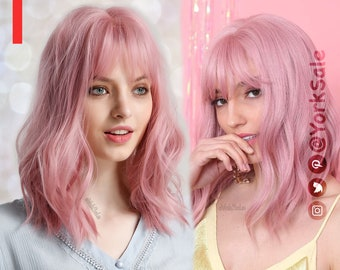 Pink Bob Cut Short Synthetic Wig   Natural Looking Hair No Lace Front Short Wig With Bangs   Water Wavy   Heat Resistant