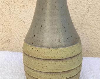 Carved Yellow Stoneware Vase