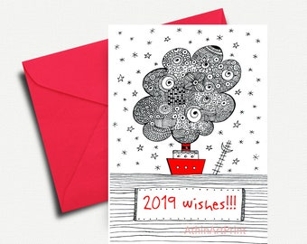 2019 card printable new years card holiday card happy new year card happy holidays diy printable christmas card instant download
