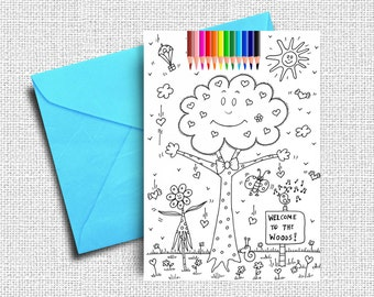 Greeting card coloring cards kids coloring friendship card kids coloring cards greeting cards woods coloring coloring card coloring book kids coloring digital coloring cards instant download m4hsunfo