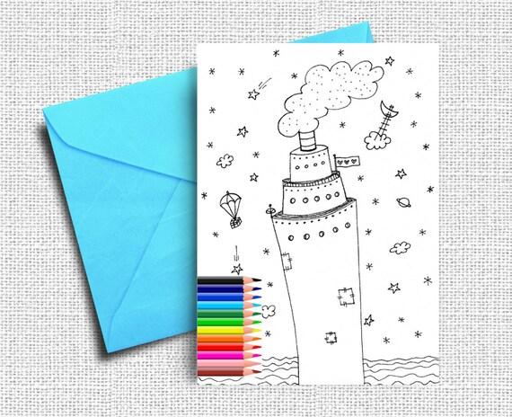 Niños de tarjetas de felicitación tarjetas para colorear | Etsy