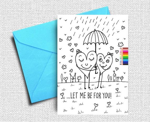 Amor de San Valentín para imprimir tarjetas de amor colorear | Etsy