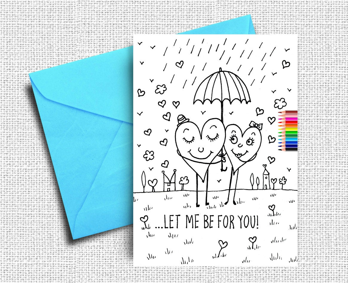 Printable Valentine Card Love Greeting Cards Coloring Cards Etsy