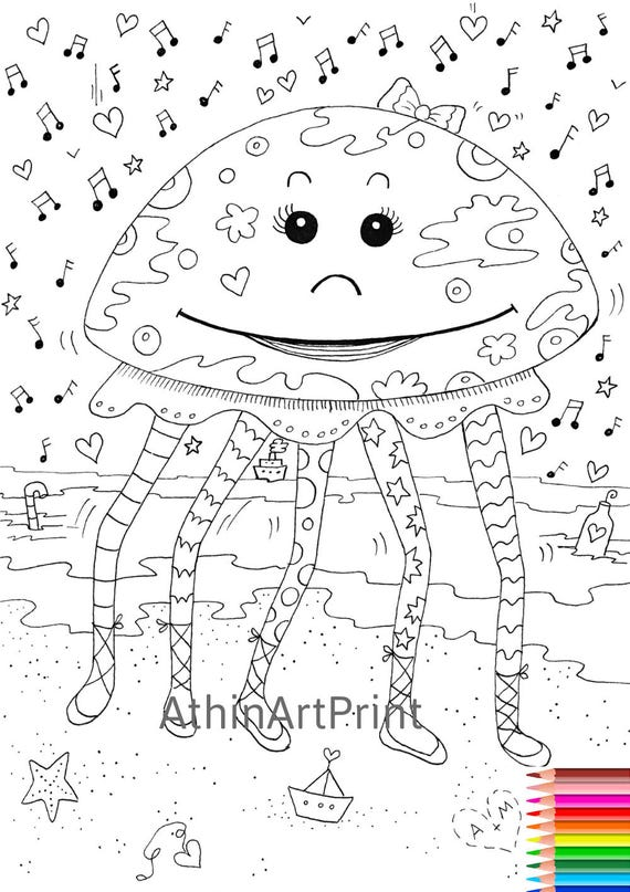 Coloring Page Printable Coloring Page Funny Coloring Page Etsy