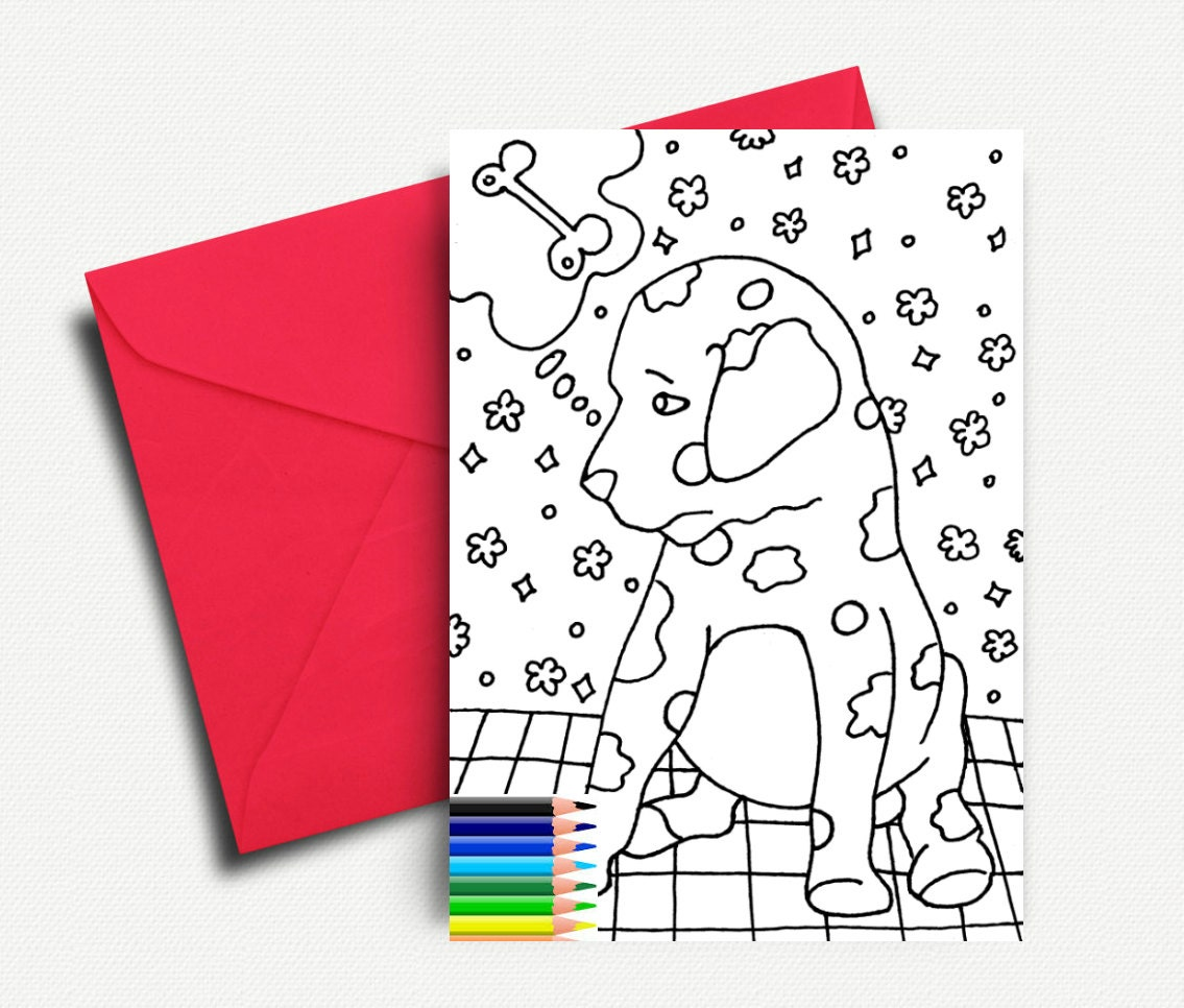 Kids Coloring Cards Greeting Cards Dog Coloring Coloring Etsy