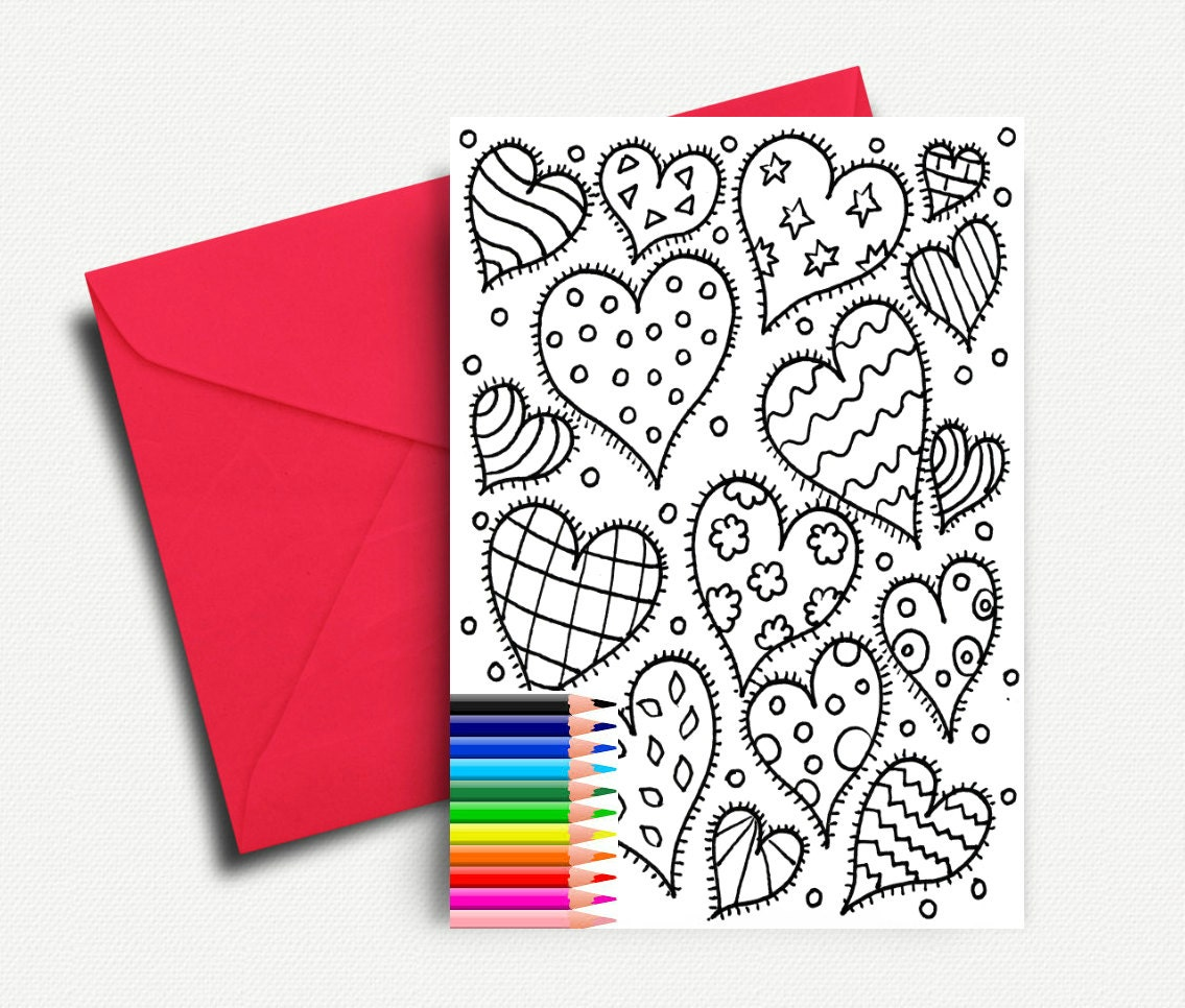 Valentines Day Card Coloring Cards Love Card Printable Etsy