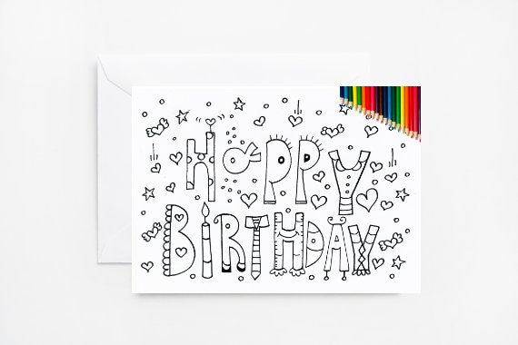 Printable Coloring Card Happy Birthday Birthday Printable Etsy