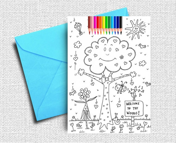 Kids Coloring Cards Greeting Cards Woods Coloring Coloring | Etsy