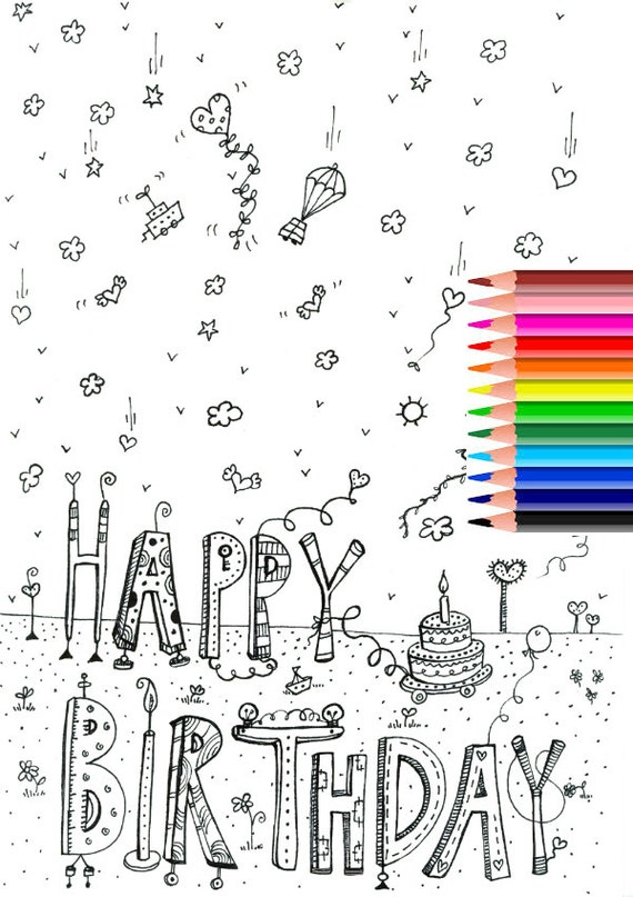 Printable Coloring Happy Birthday Pages Tag Amazing Remarkable ... | 807x570