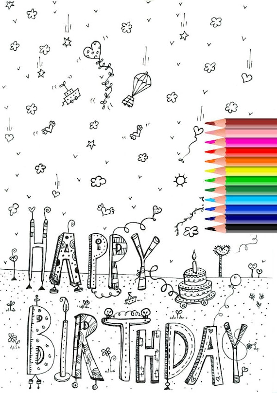 Happy birthday coloring pages with balloons for kids | coloing-4kids.com | 807x570