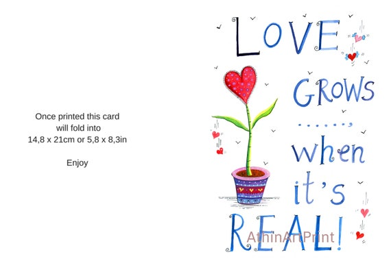 This is a graphic of Printable Love Card with happy anniversary