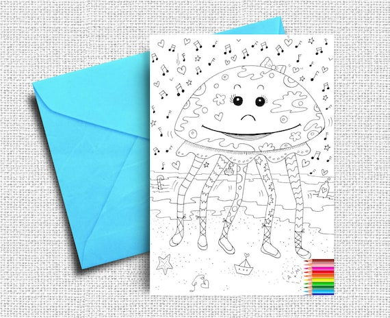 Coloring Cards Greeting Card Kids Coloring Friendship Card Etsy
