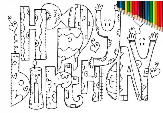happy birthday coloring pages adult coloring pages printable coloring page kids coloring pages digital coloring instant download