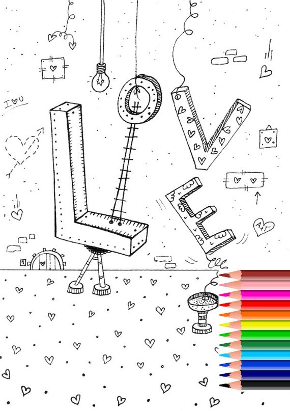 Coloring Page Love Coloring Page Adult Coloring Pages Etsy