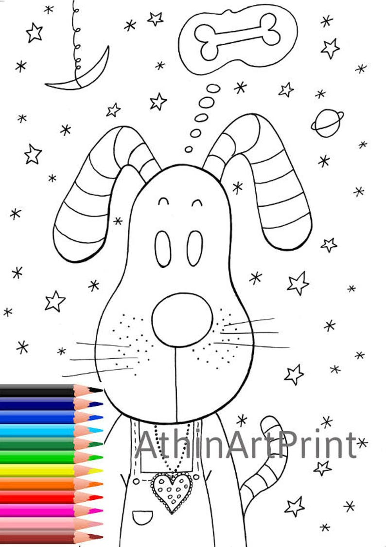 Dog Coloring Printable Coloring Pages Coloring Book Kids | Etsy