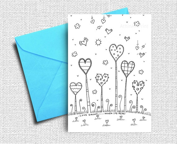 Love Greeting Cards Coloring Cards Love Card Printable | Etsy