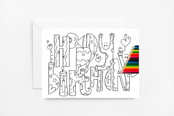 - Happy Birthday Coloring Cards Coloring Card Adult Coloring Etsy