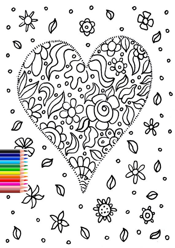 Printable Coloring Page Adult Coloring Page Valentines Day Etsy