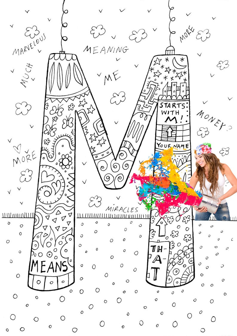 Adult Coloring Pages Printable Alphabet Coloring Pages | Etsy