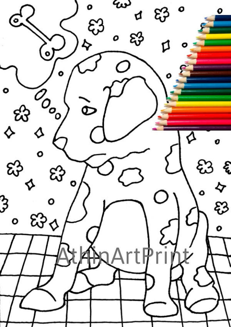 Kids Coloring Pages Dog Coloring Coloring Page Printable | Etsy