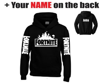 8b1de406 fortnite hoodie for kids and adults white print your name on the back -  fortnite kids