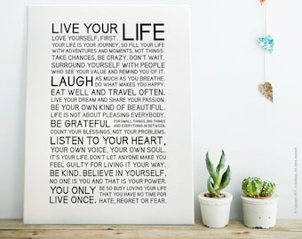 Live Your Life — Black - Black White Printable Art, Motivational Poster/Quote, Instant Download