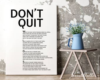 Don't Quit Poem, Black – Motivational Poster, Printable Poster/Quote, Printable Art, Wall Art, Instant Download