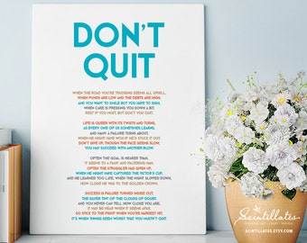 Don't Quit Poem, Teal – Motivational Poster, Printable Poster/Quote, Printable Art, Wall Art, Instant Download