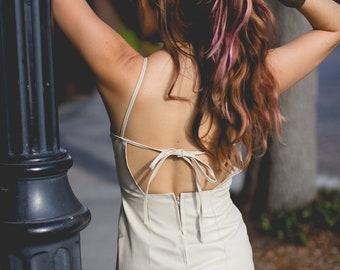 e000e3c774791 low back dress  pleather  leather