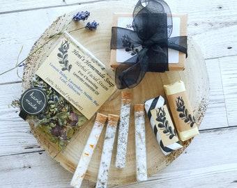 Spa beauty samples pack for her, tiny testers bundle, Natural Handmade pamper gift set, Facial Steam, Bath Melt, 4 Bathing Salts, 2 soaps
