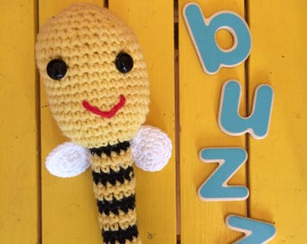 CROCHET PATTERN PDF/Buzzy bee rattle/baby gift/toy/digital instant download