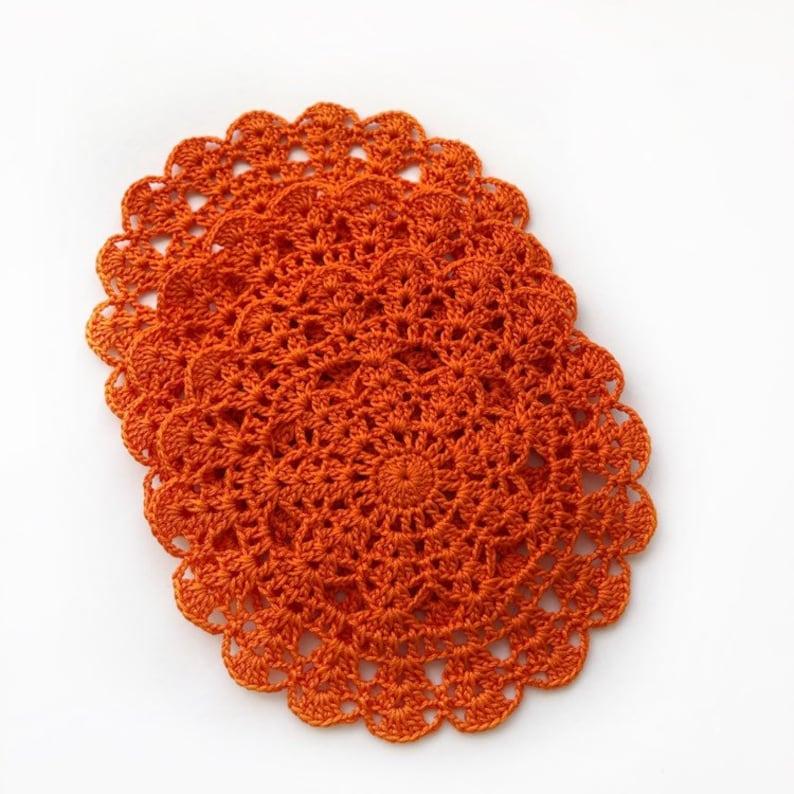 Orange lace doily Crochet home decor Orange small cotton doily